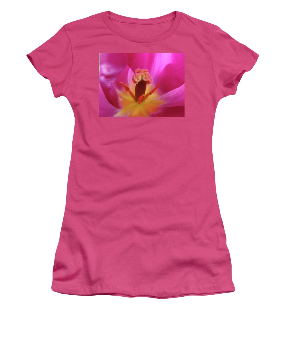 �tulips Artwork� Women's T-Shirt (Athletic Fit) featuring the photograph Tulips Artwork Pink Purple Tuli Flower Art Prints Spring Garden Nature by Baslee Troutman