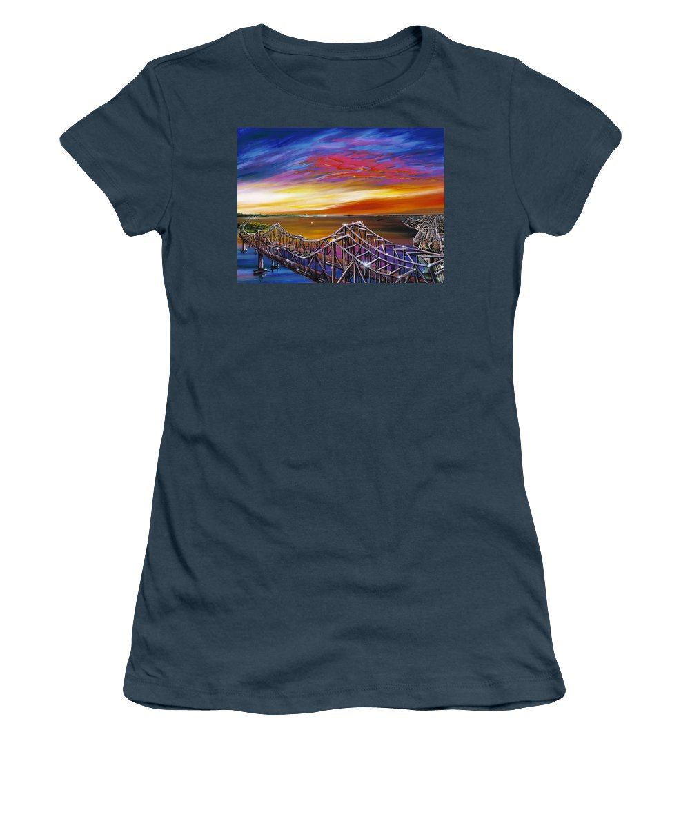 Clouds Women's T-Shirt (Junior Cut) featuring the painting Cooper River Bridge by James Christopher Hill