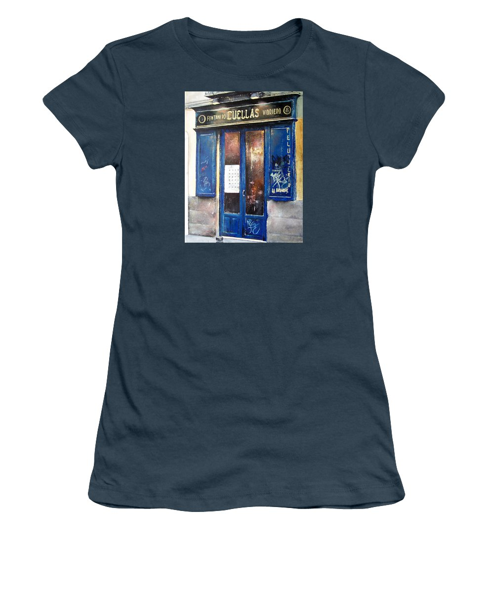 Old Women's T-Shirt (Junior Cut) featuring the painting Old Plumbing-madrid by Tomas Castano