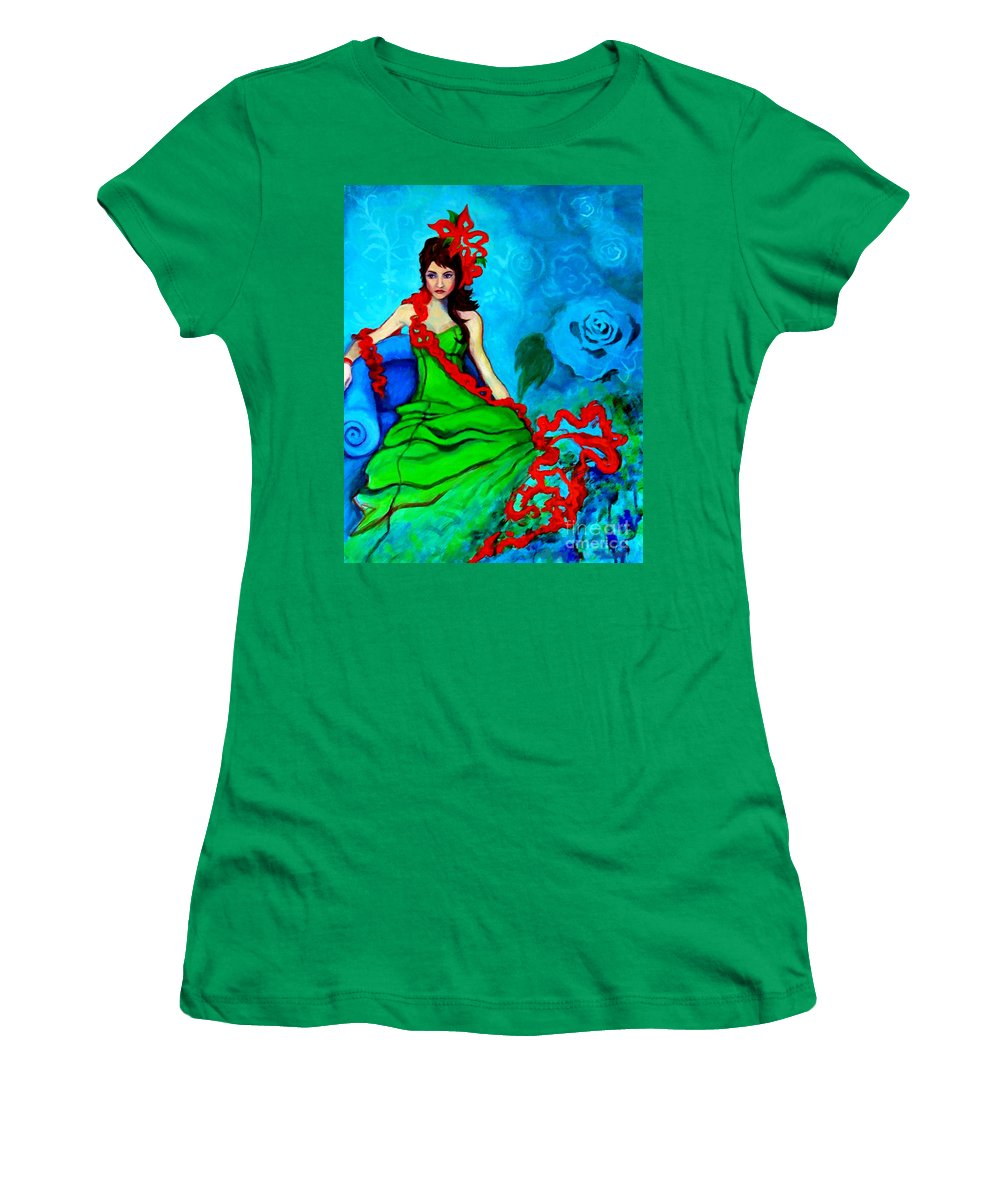 Woman Women's T-Shirt featuring the painting Blue Compliments by Angelique Bowman