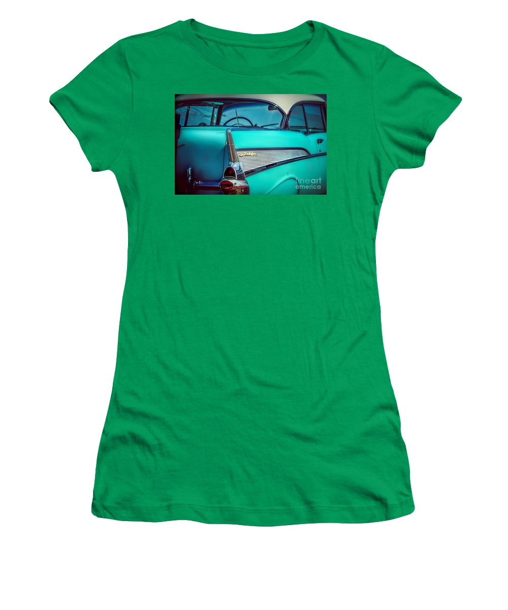Classic Car Women's T-Shirt featuring the photograph 1957 Chevy Bel-air by Peggy Franz