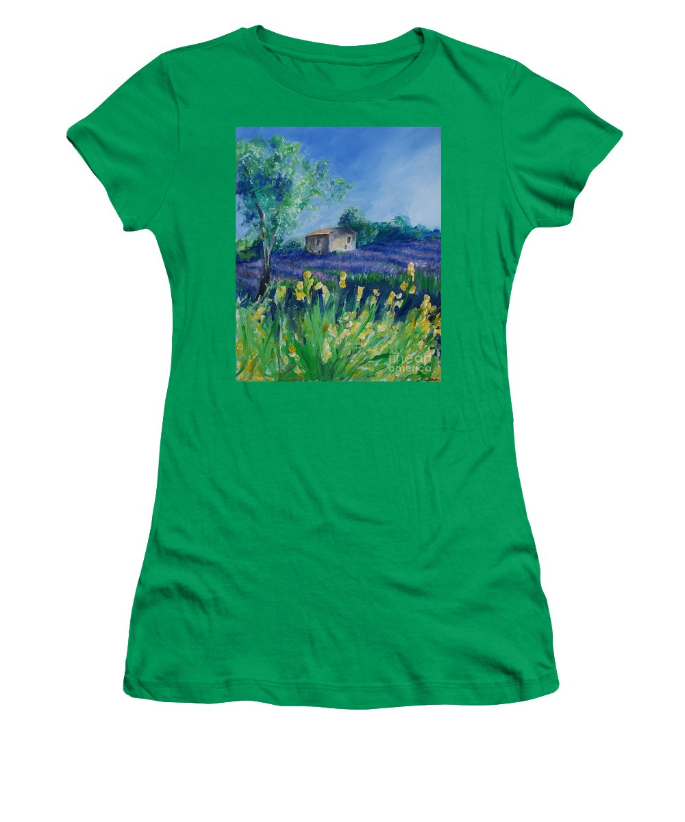 Provence Women's T-Shirt (Athletic Fit) featuring the painting Provence Lavender Field by Eric Schiabor