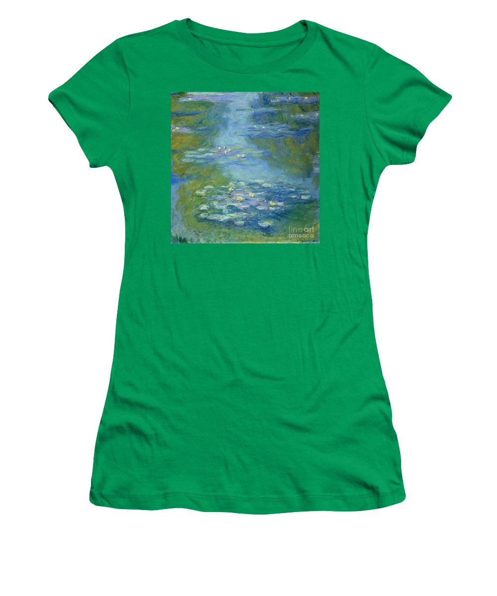 French Women's T-Shirt featuring the painting Waterlilies by Claude Monet