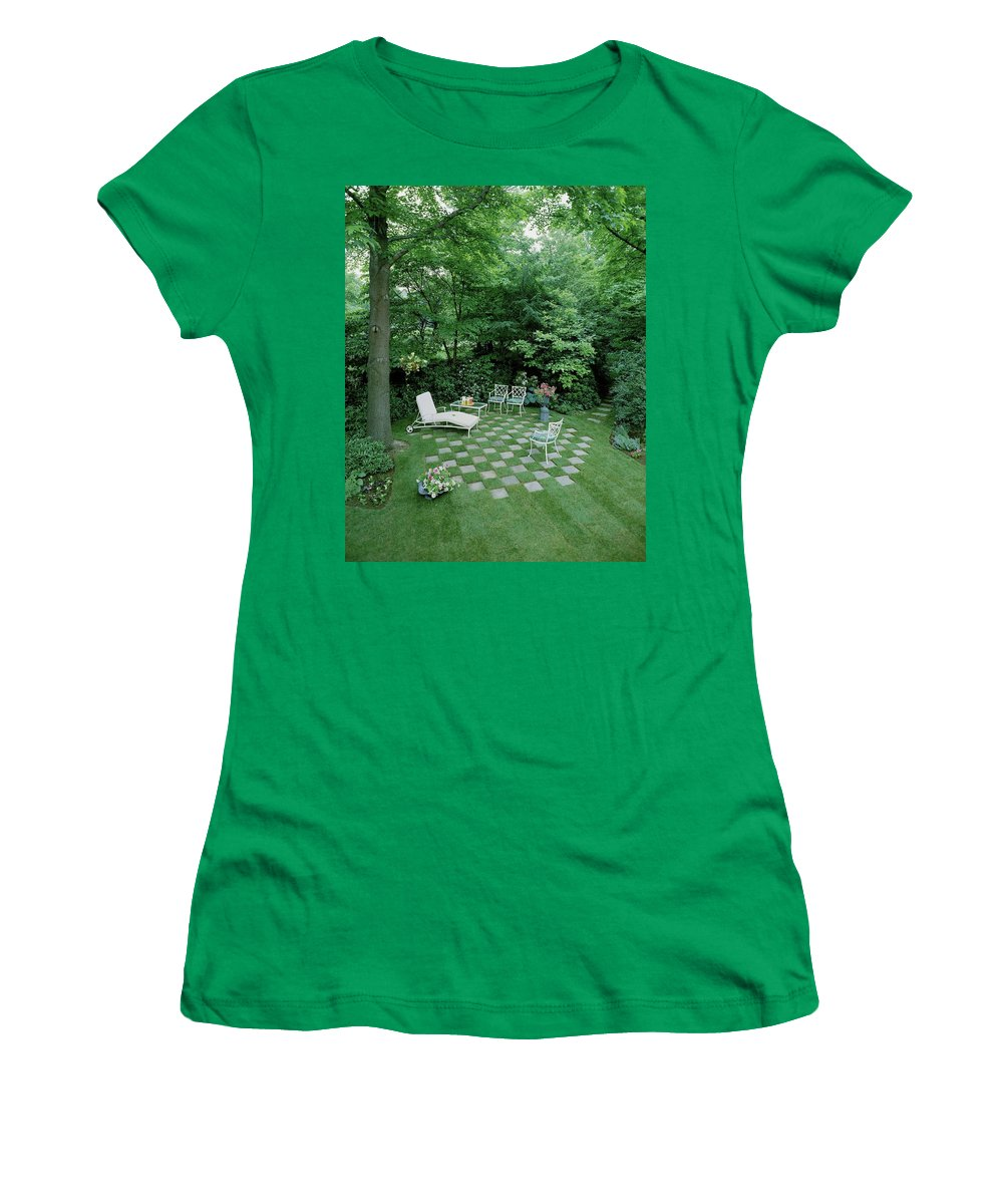 Decorative Art Women's T-Shirt featuring the photograph A Garden With Checkered Pavement by Pedro E. Guerrero