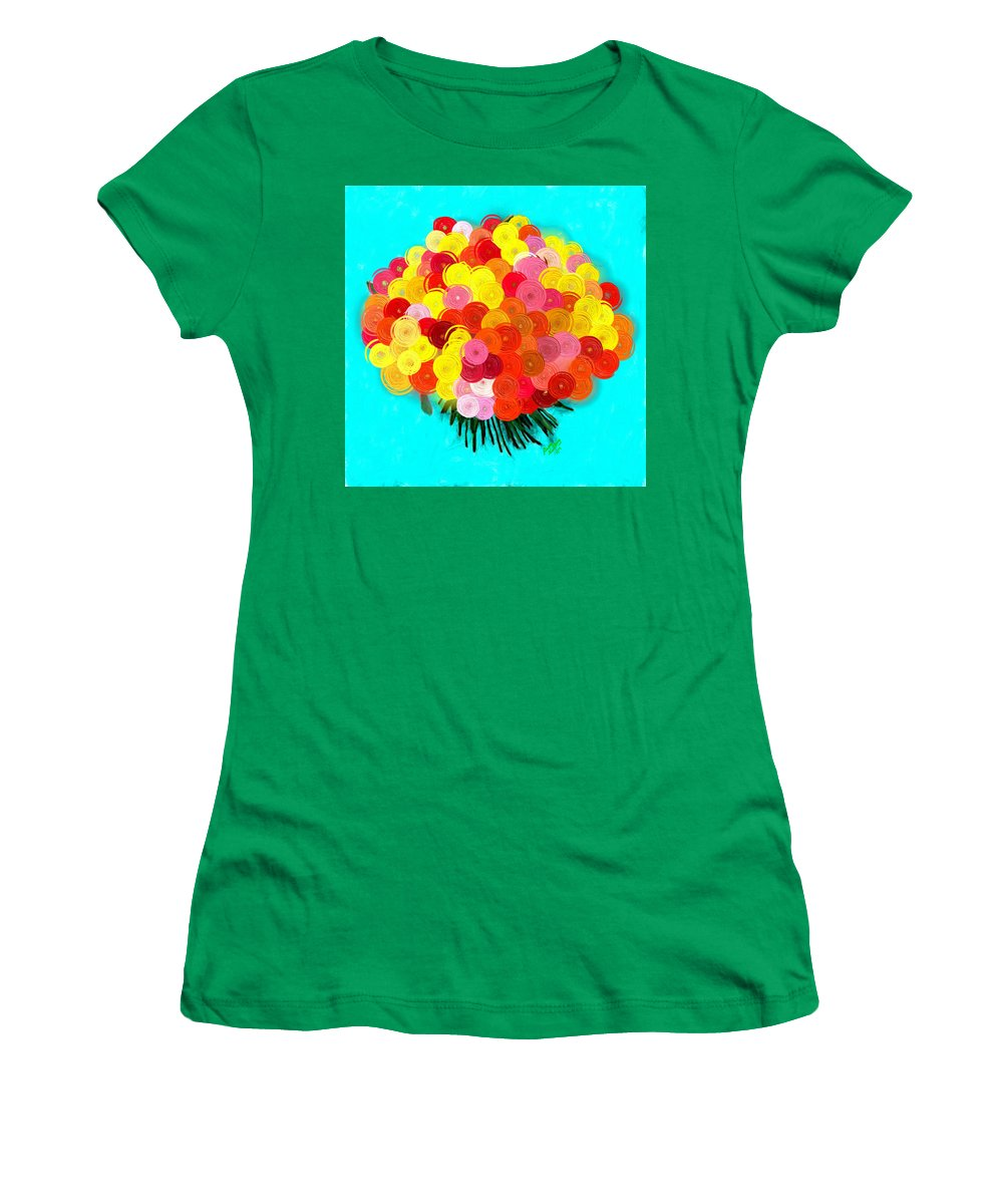 Yellow Women's T-Shirt featuring the painting Abstract Roses by Bruce Nutting