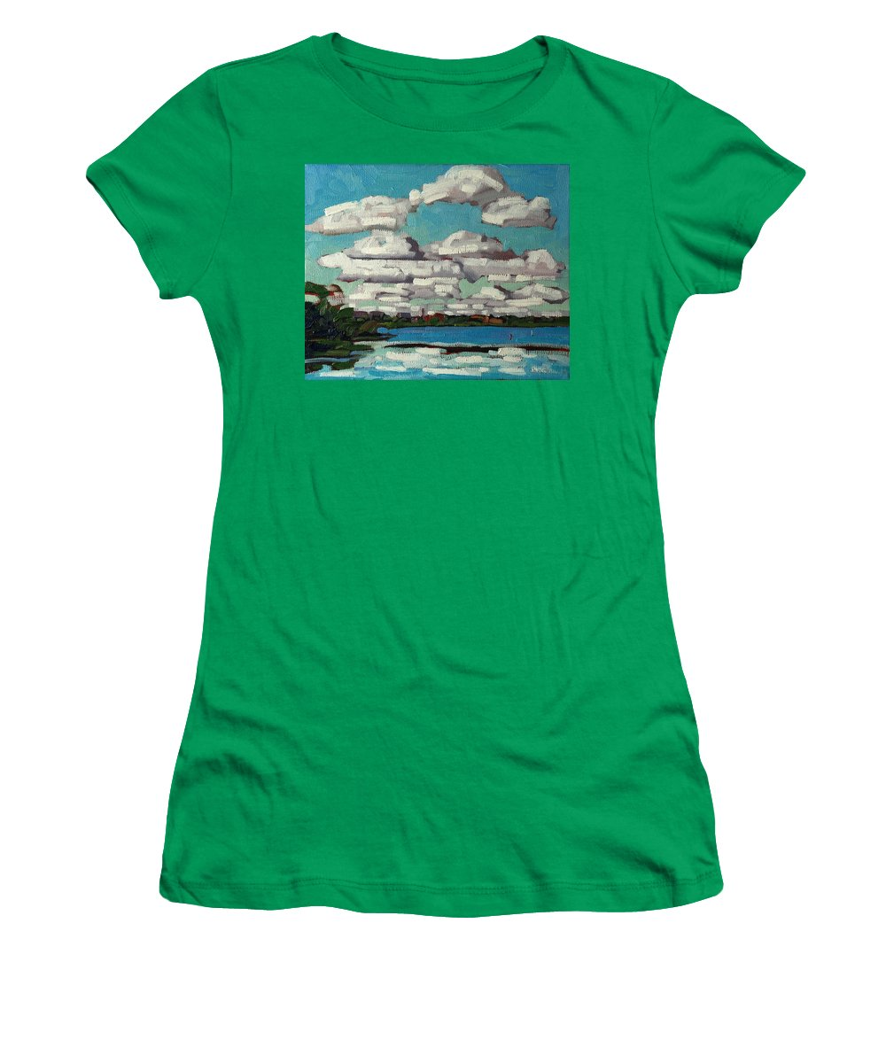 Cumulus Women's T-Shirt featuring the painting Across The Cataraqui by Phil Chadwick
