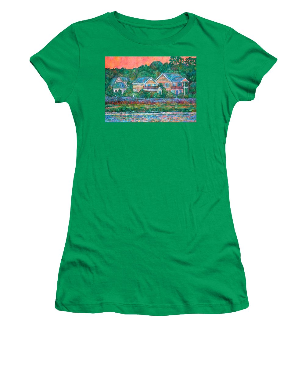 Landscape Women's T-Shirt (Athletic Fit) featuring the painting Across The Marsh At Pawleys Island    by Kendall Kessler