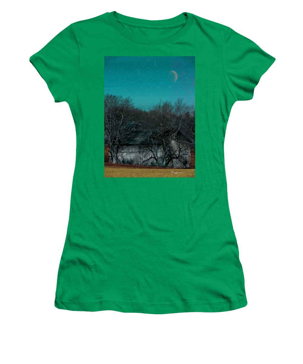 Barn Women's T-Shirt featuring the photograph Barns-featured In Visions Of The Night Group by Ericamaxine Price