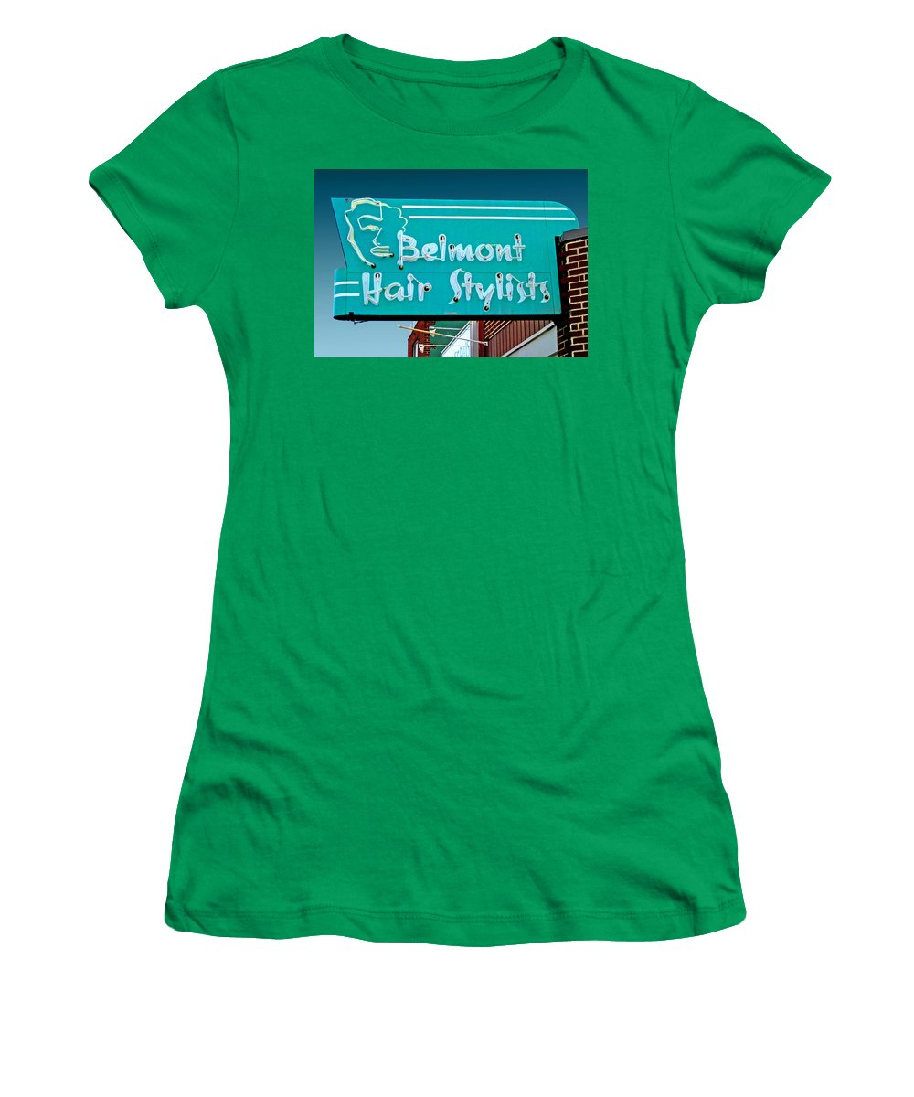 Mid Century Women's T-Shirt featuring the photograph Belmont Hair Stylists by Larry Hunter