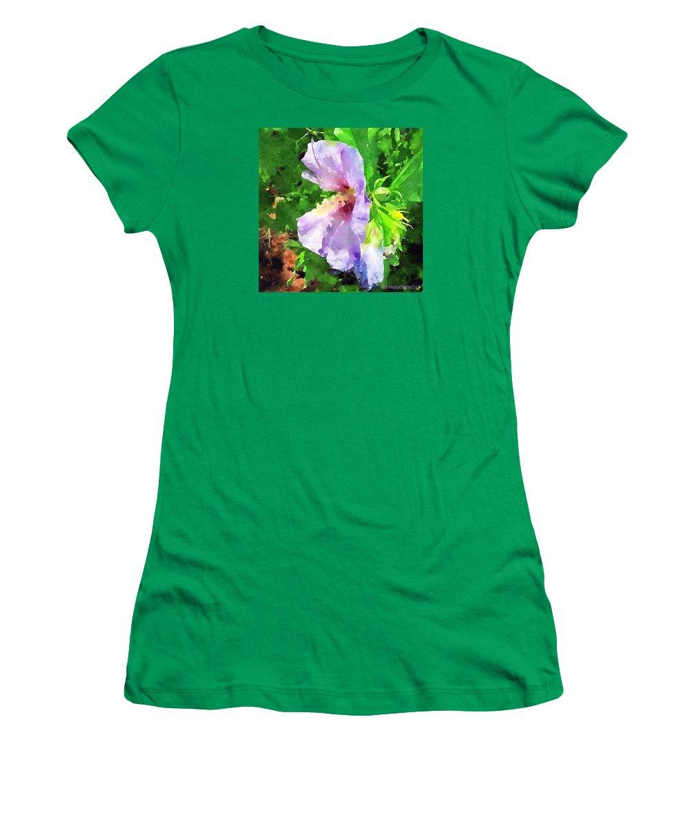 Bluebird Rose Of Sharon Women's T-Shirt featuring the photograph Bluebird Rose Of Sharon by Anna Porter