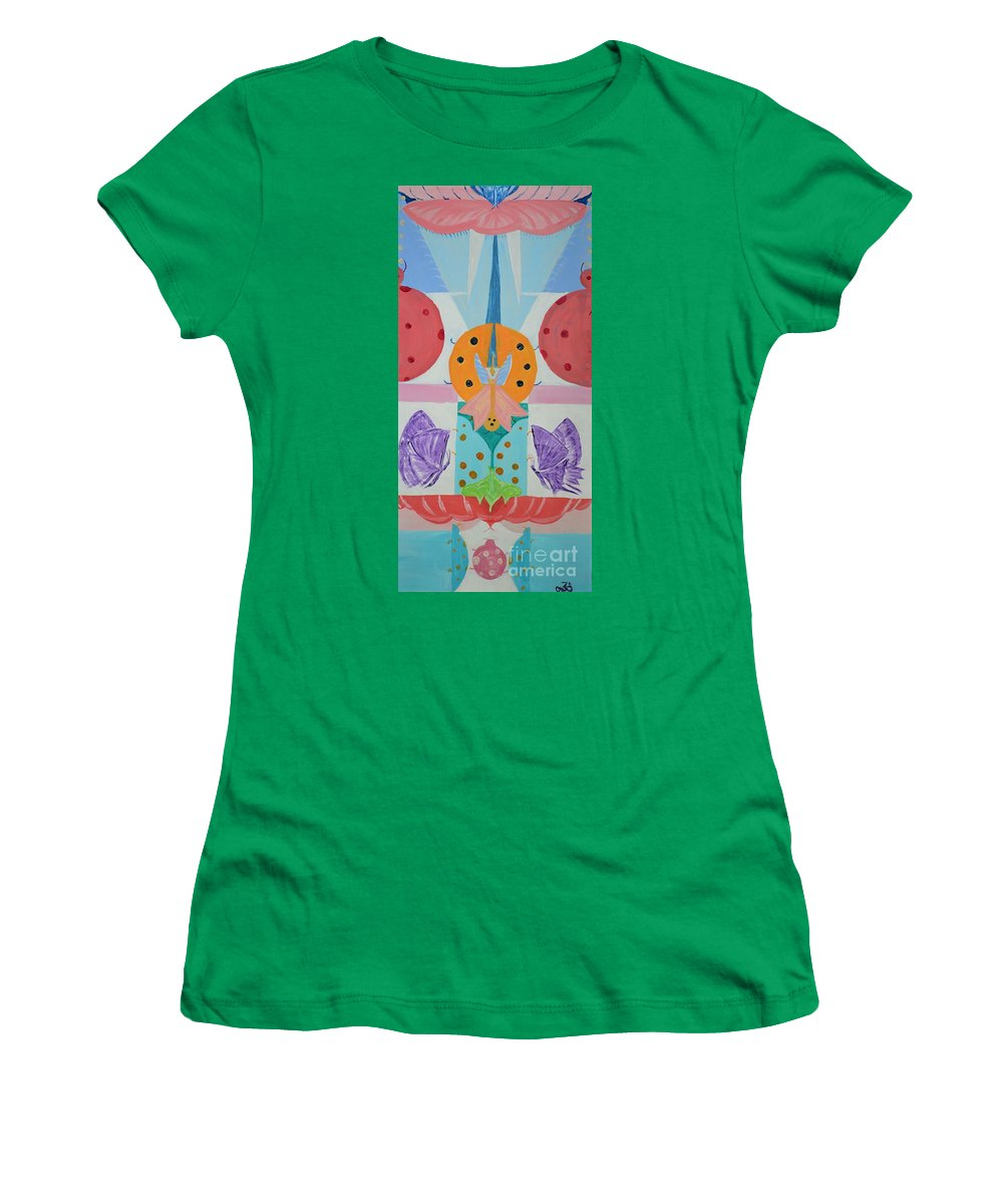 Children Women's T-Shirt featuring the painting Butterfly Kisses And Ladybug Hugs by Om Art Studio Dean Walther
