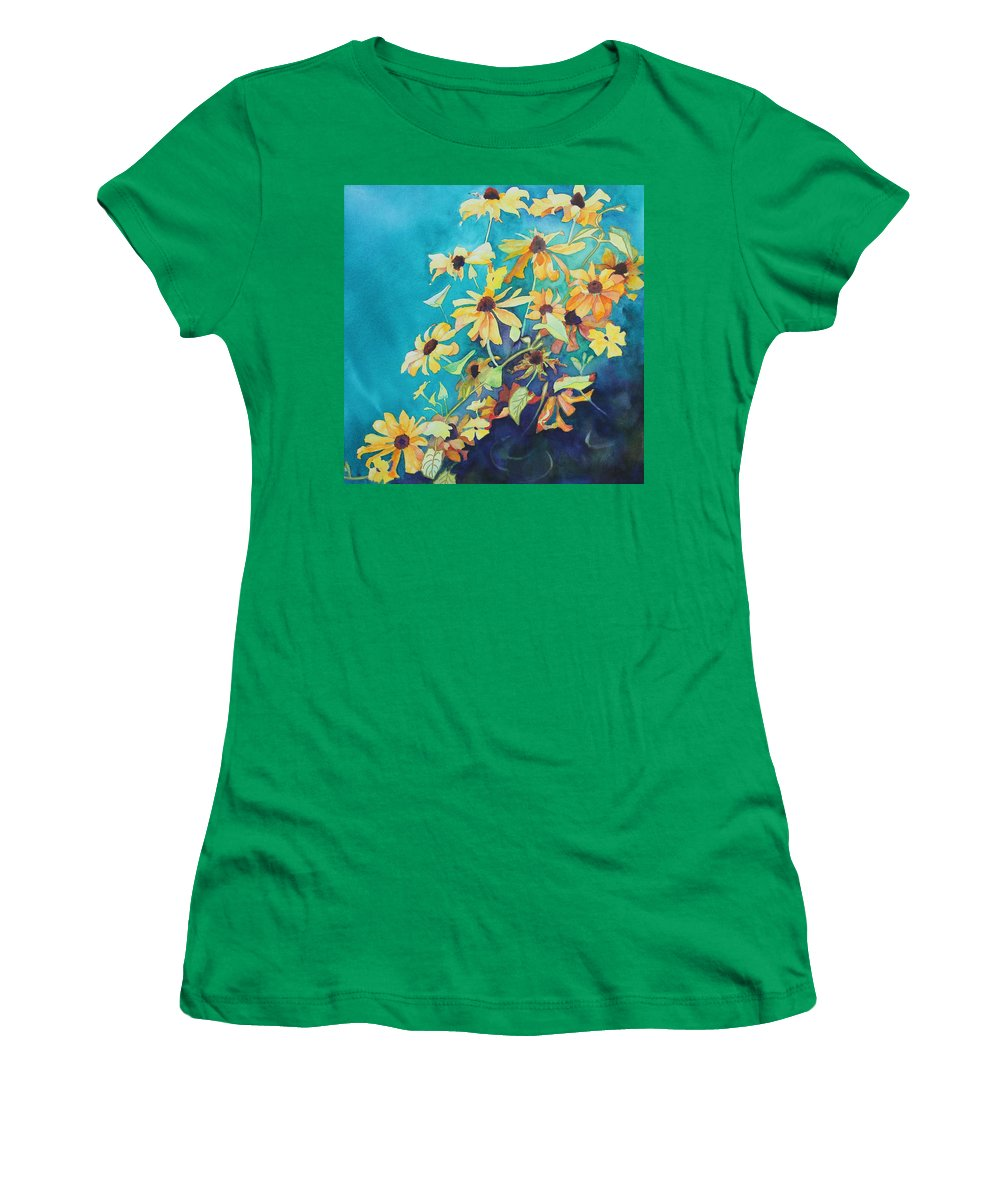Black Eyed Susans Women's T-Shirt (Athletic Fit) featuring the painting Cascade by Ruth Kamenev