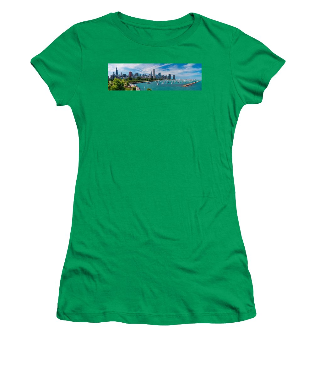 3scape Women's T-Shirt (Athletic Fit) featuring the photograph Chicago Skyline Daytime Panoramic by Adam Romanowicz