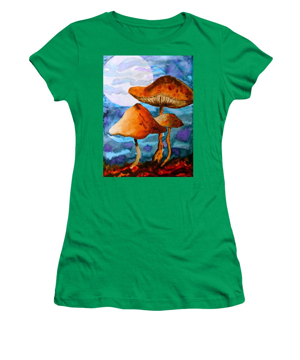 Watercolor Women's T-Shirt featuring the painting Claiming The Moon by Beverley Harper Tinsley