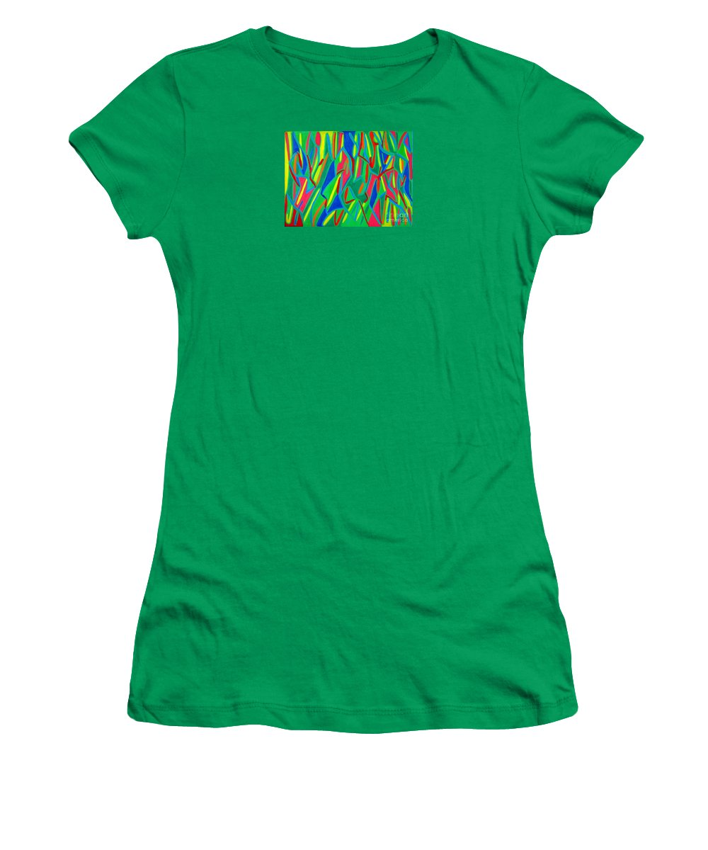 Eunice Broderick Women's T-Shirt (Athletic Fit) featuring the painting Dance Of Colors by Eunice Broderick