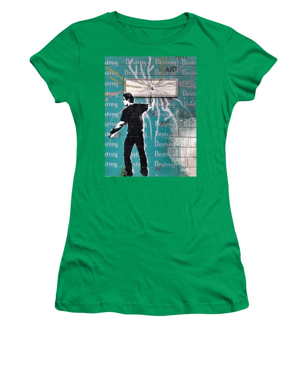Blue Women's T-Shirt featuring the photograph Destroy My Walls by The Artist Project