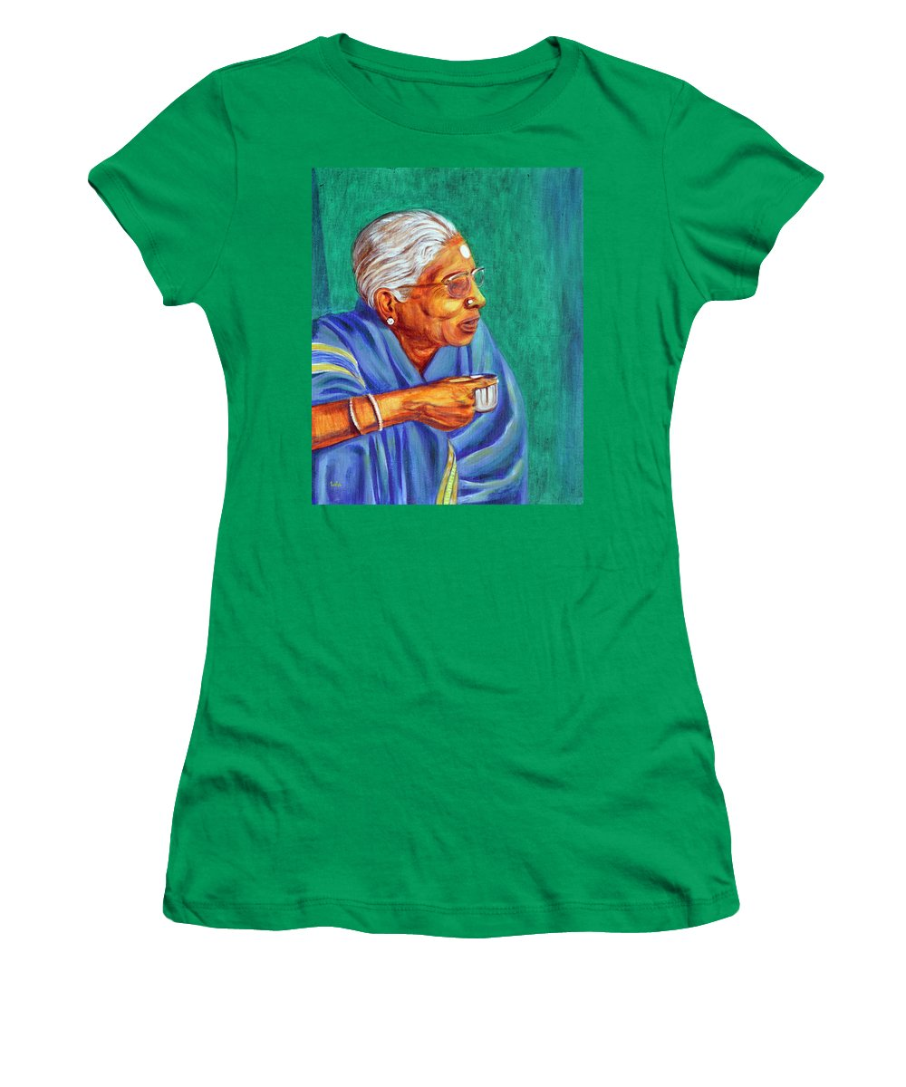 Usha Women's T-Shirt featuring the painting Golden Age 2 by Usha Shantharam