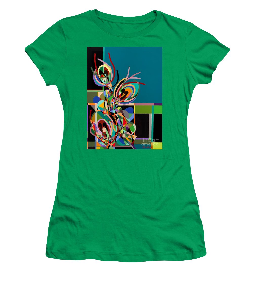 Landscape Women's T-Shirt featuring the painting Harlequin by Allan P Friedlander