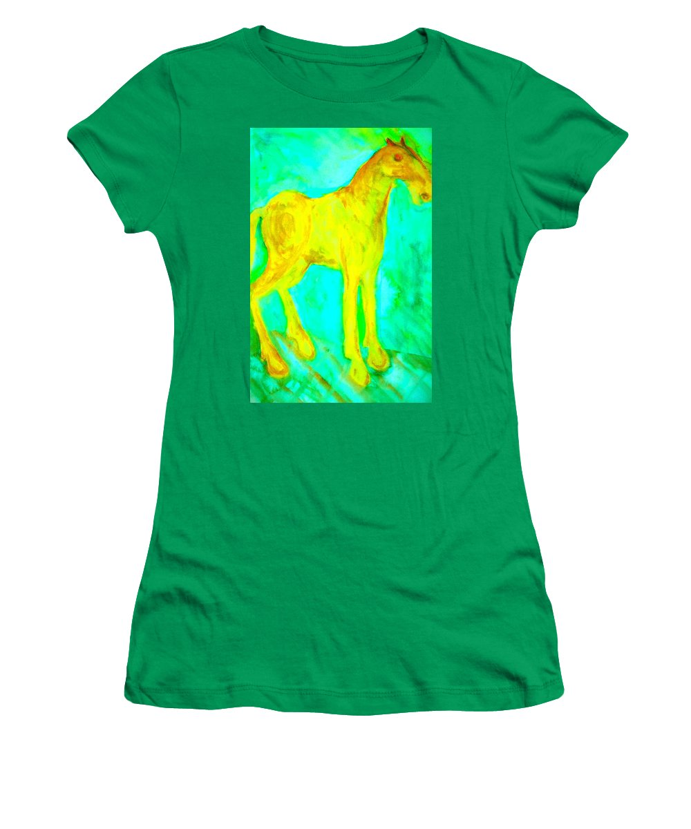 Horse Women's T-Shirt featuring the painting I Will Show You Everything But Will You See It by Hilde Widerberg