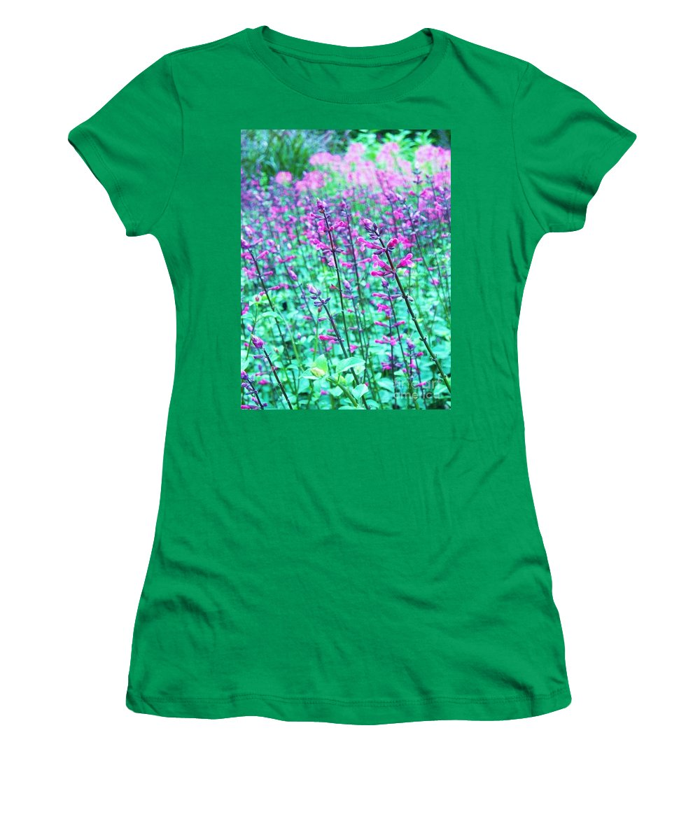 Lavender Women's T-Shirt (Athletic Fit) featuring the photograph Lavender Color Flowers by Eric Schiabor