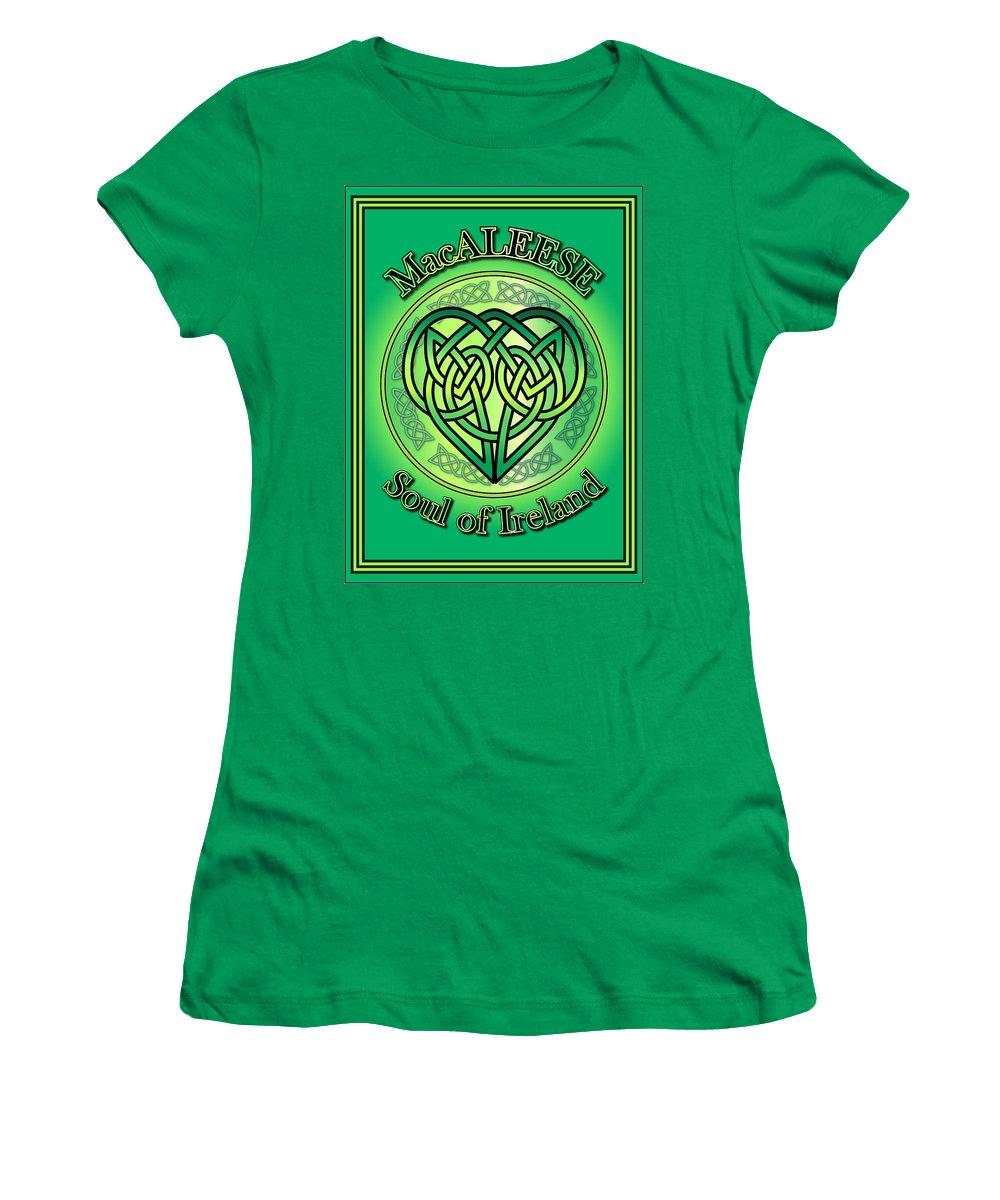 Macaleese Women's T-Shirt featuring the digital art Macaleese Soul Of Ireland by Ireland Calling