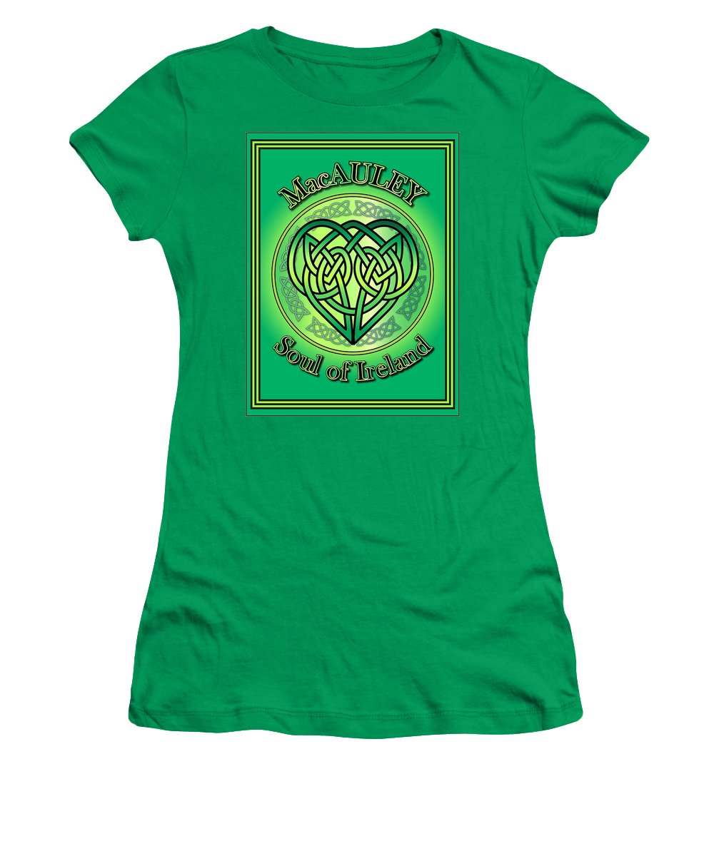 Macauley Women's T-Shirt featuring the digital art Macauley Soul Of Ireland by Ireland Calling