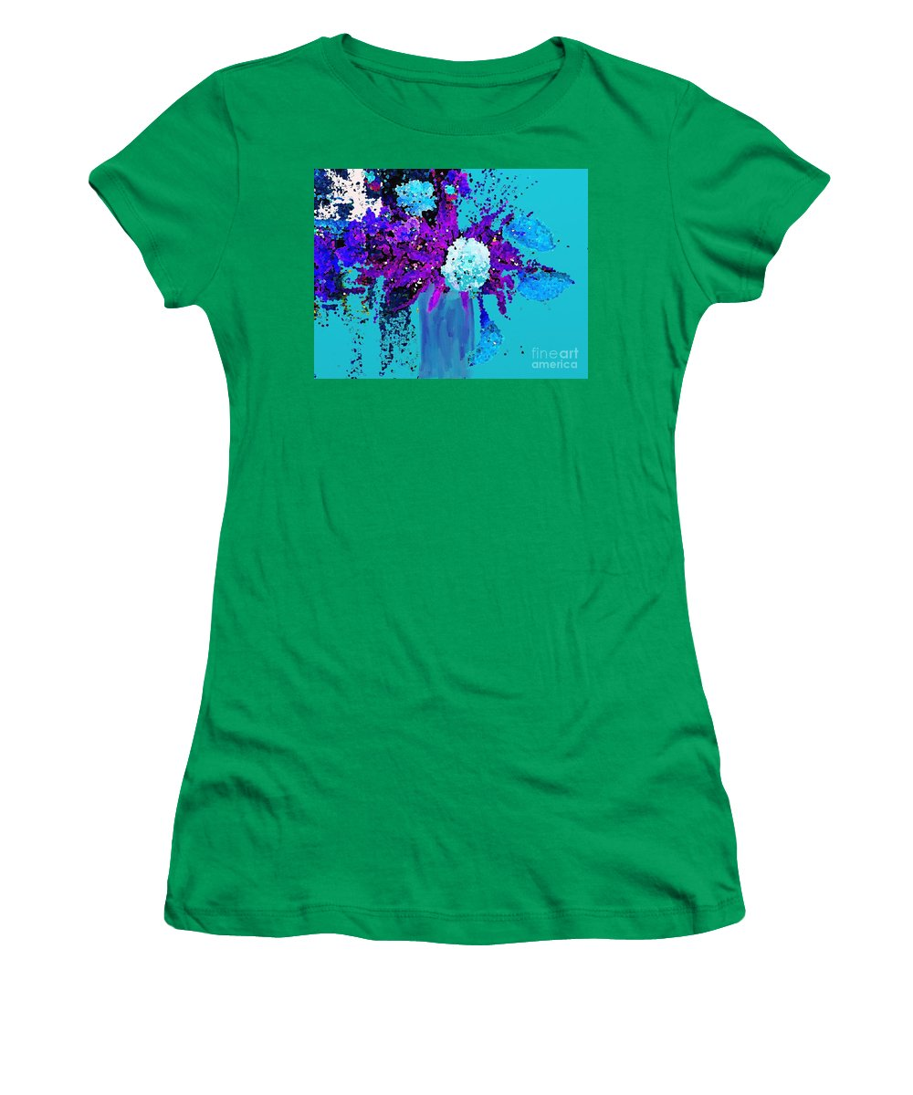 Morning Callas And Orchids Women's T-Shirt (Athletic Fit) featuring the painting Morning Callas And Orchids by Saundra Myles