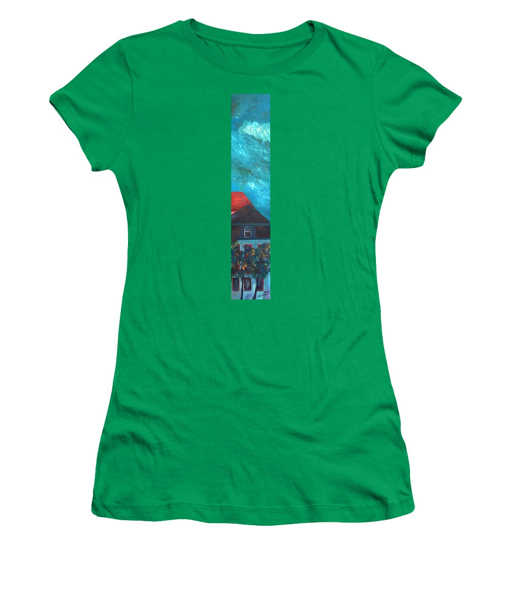 Munich Women's T-Shirt (Athletic Fit) featuring the painting Munich - Church Of Our Lady At Dawn - Triptych - IIi Of IIi by M Bleichner