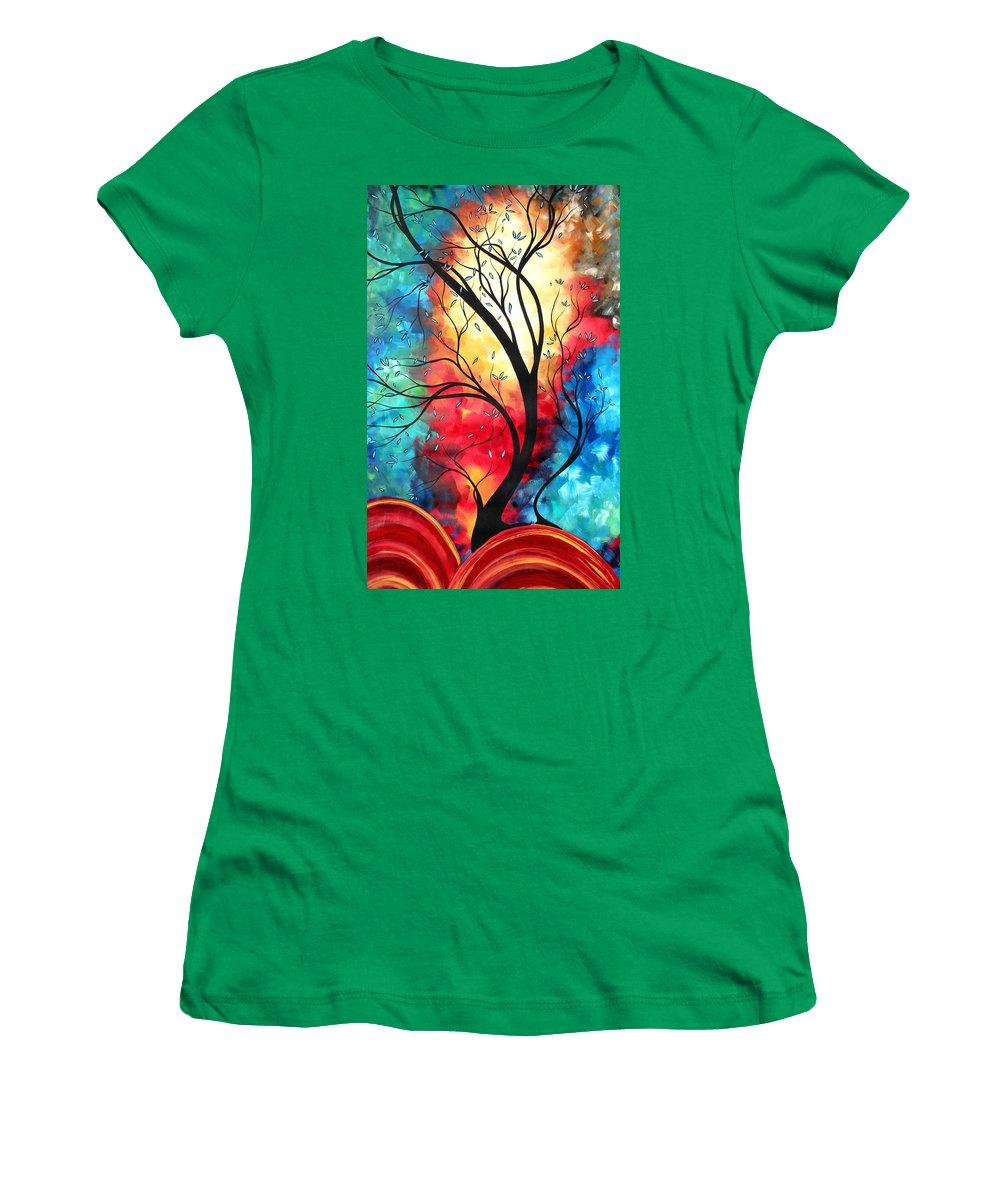 Original Women's T-Shirt featuring the painting New Beginnings Original Art By Madart by Megan Duncanson