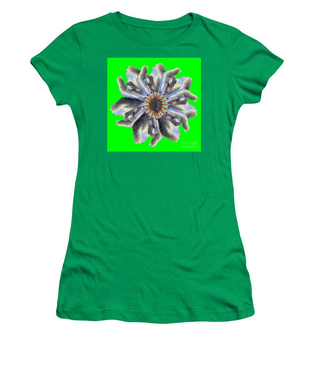 Women's T-Shirt featuring the photograph New Photographic Art Print For Sale Pop Art Swan Flower On Green by Toula Mavridou-Messer