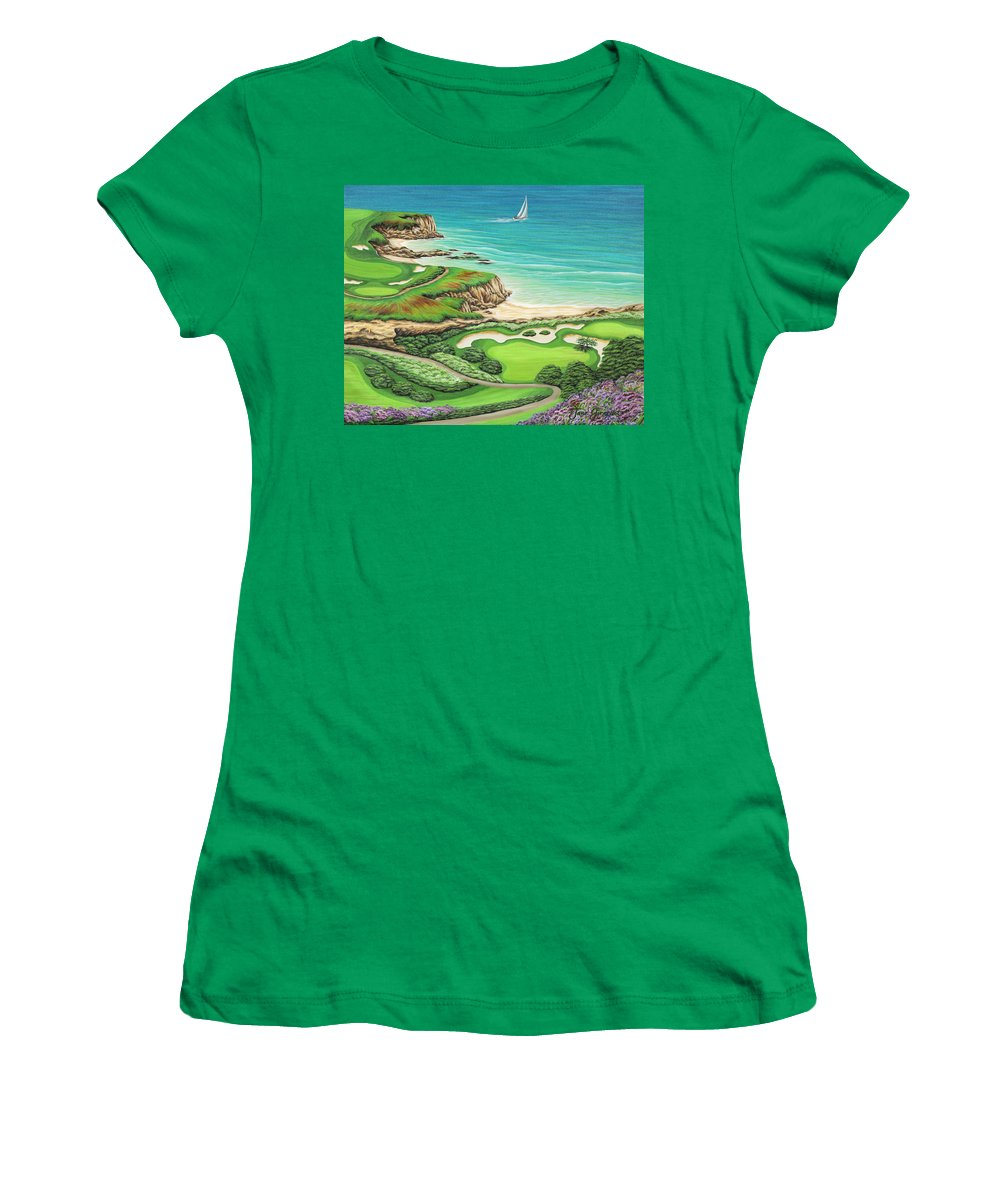 Ocean Women's T-Shirt (Athletic Fit) featuring the painting Newport Coast by Jane Girardot