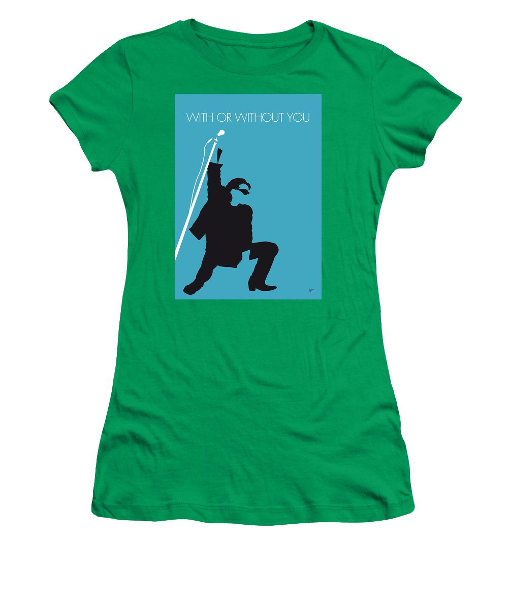 U2 Women's T-Shirt featuring the digital art No035 MY U2 Minimal Music poster by Chungkong Art