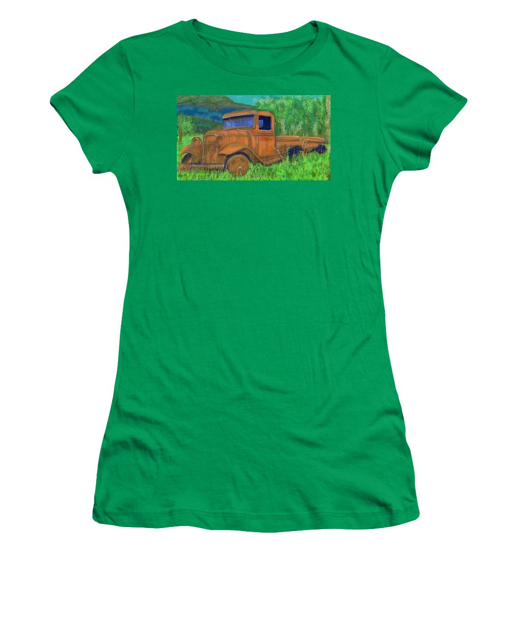 Truck Women's T-Shirt featuring the painting Old Canadian Truck by Hidden Mountain