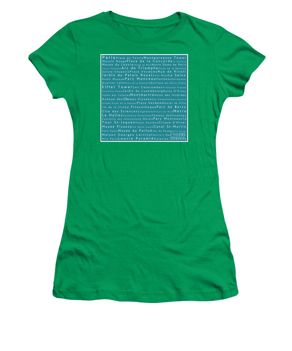 City Women's T-Shirt featuring the digital art Paris In Words Teal by Sabine Jacobs