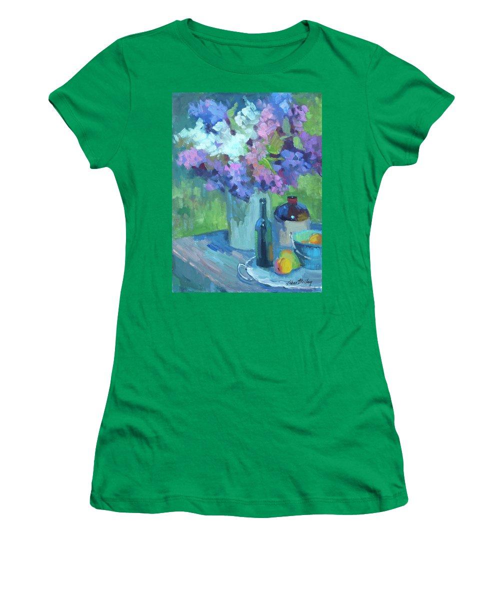 Plein Air Lilacs Women's T-Shirt featuring the painting Plein Air Lilacs by Diane McClary
