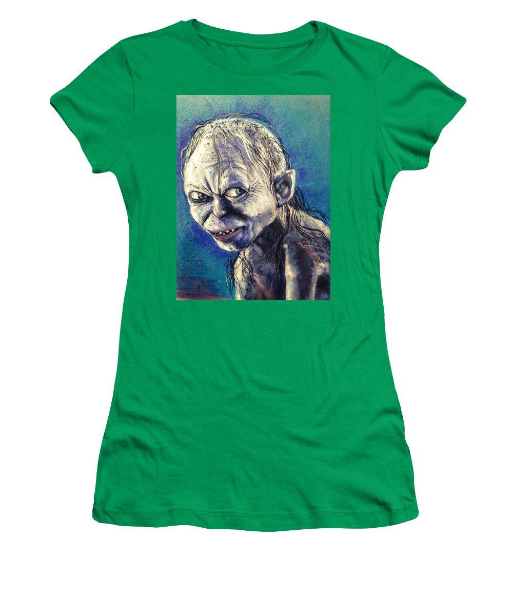 Gollum Women's T-Shirt (Athletic Fit) featuring the pastel Portrait Of Gollum by Alban Dizdari