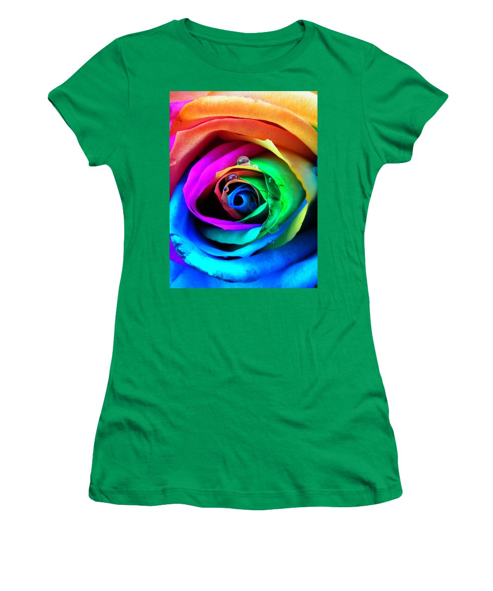 Rainbow Women's T-Shirt featuring the photograph Rainbow Rose by Juergen Weiss