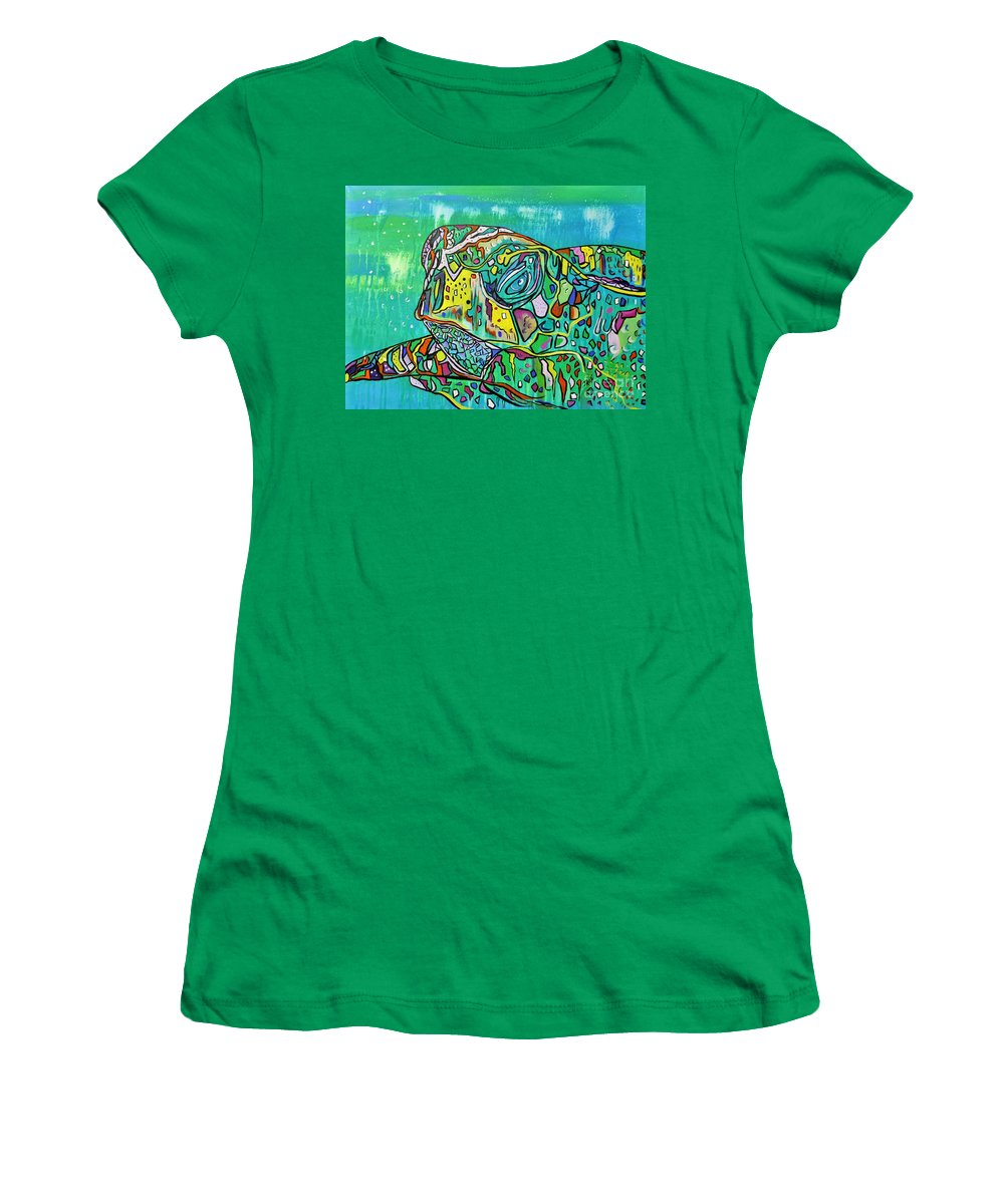Original Women's T-Shirt featuring the painting Sea Turtle Sam by Janice Pariza