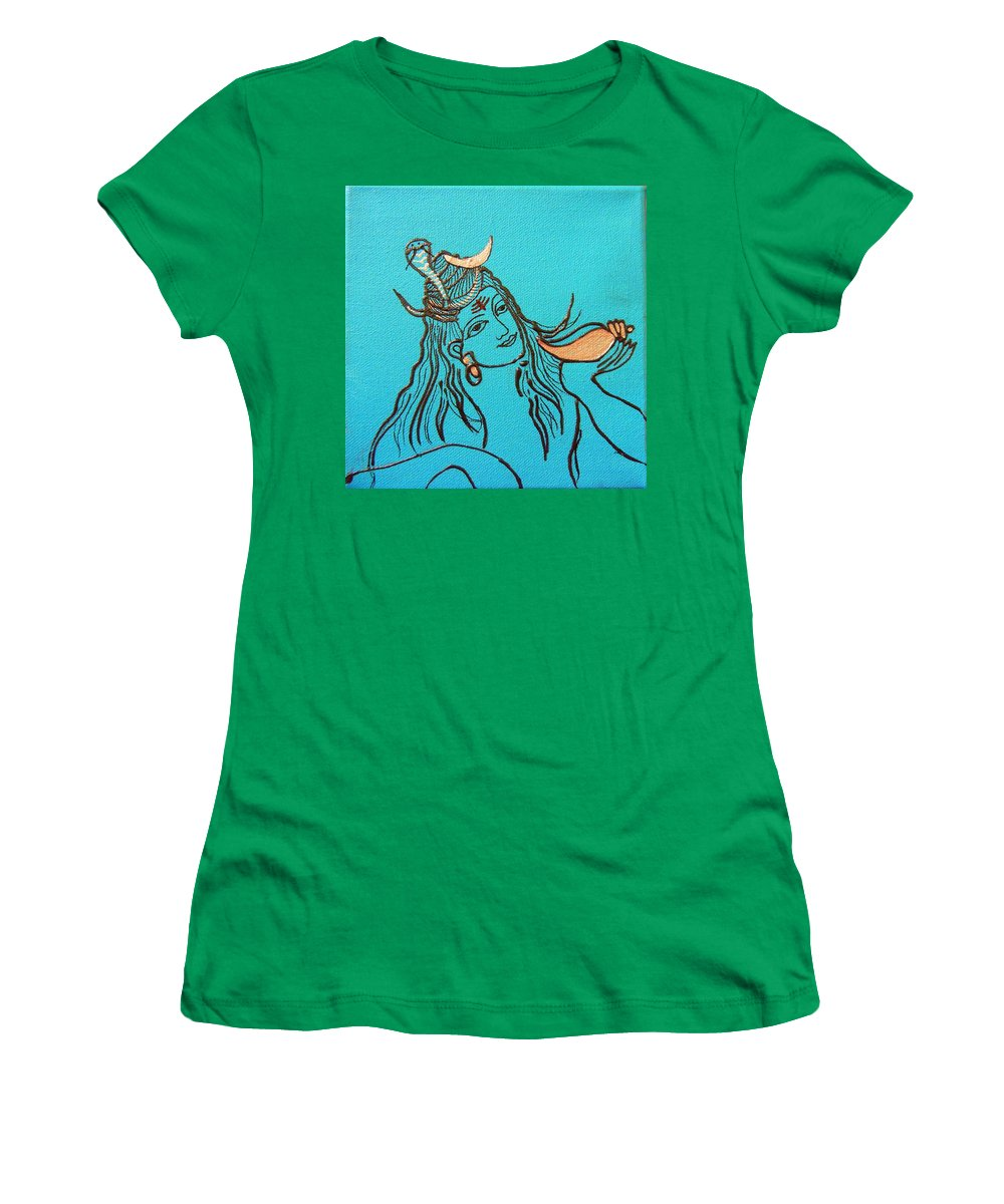 Shiva Women's T-Shirt featuring the mixed media Shiva by Kruti Shah
