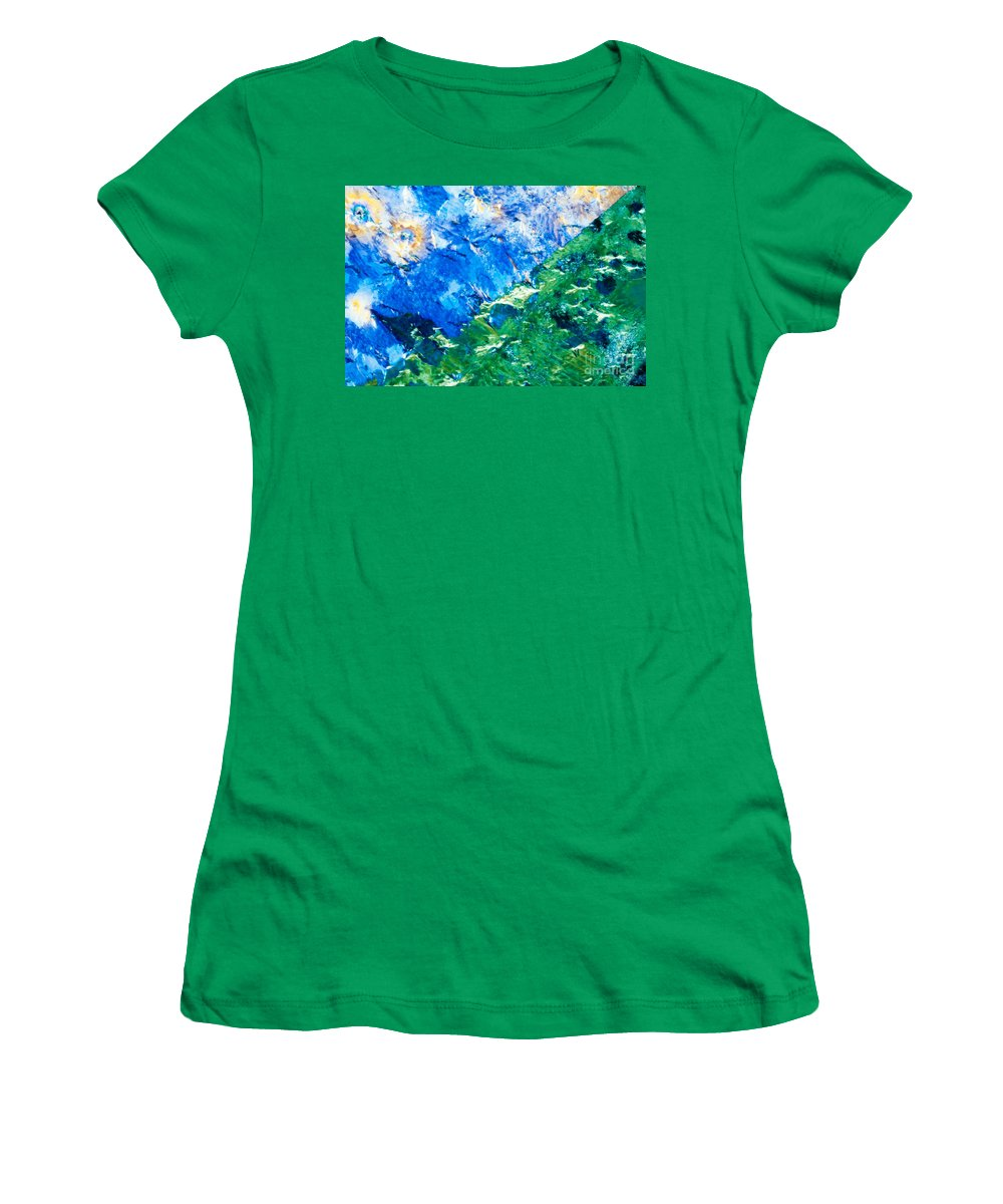 Background Women's T-Shirt featuring the photograph Sodium Thiosulphate Microcrystals Colorful Art by Stephan Pietzko