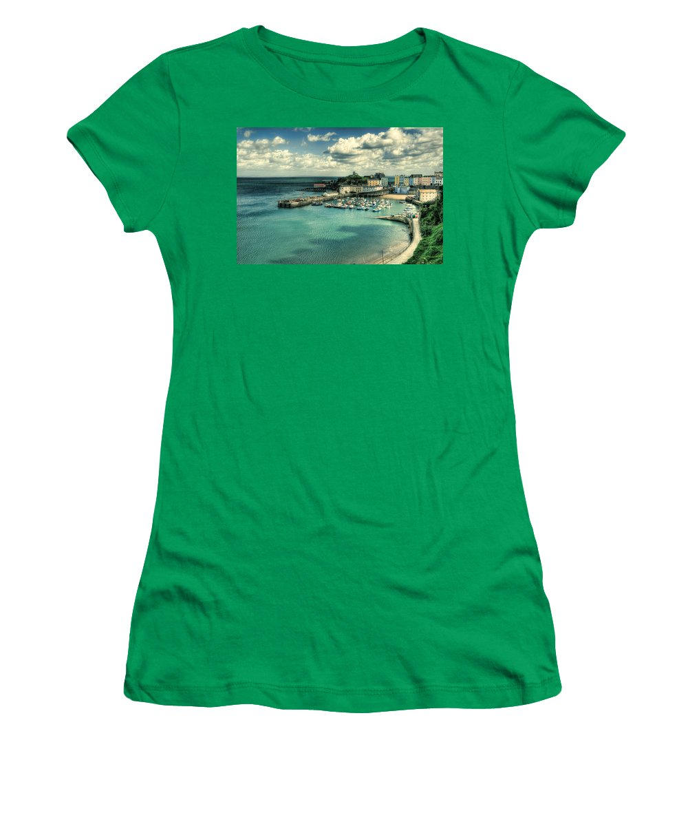 Tenby Harbour Women's T-Shirt featuring the photograph Tenby Harbour Pembrokeshire by Steve Purnell