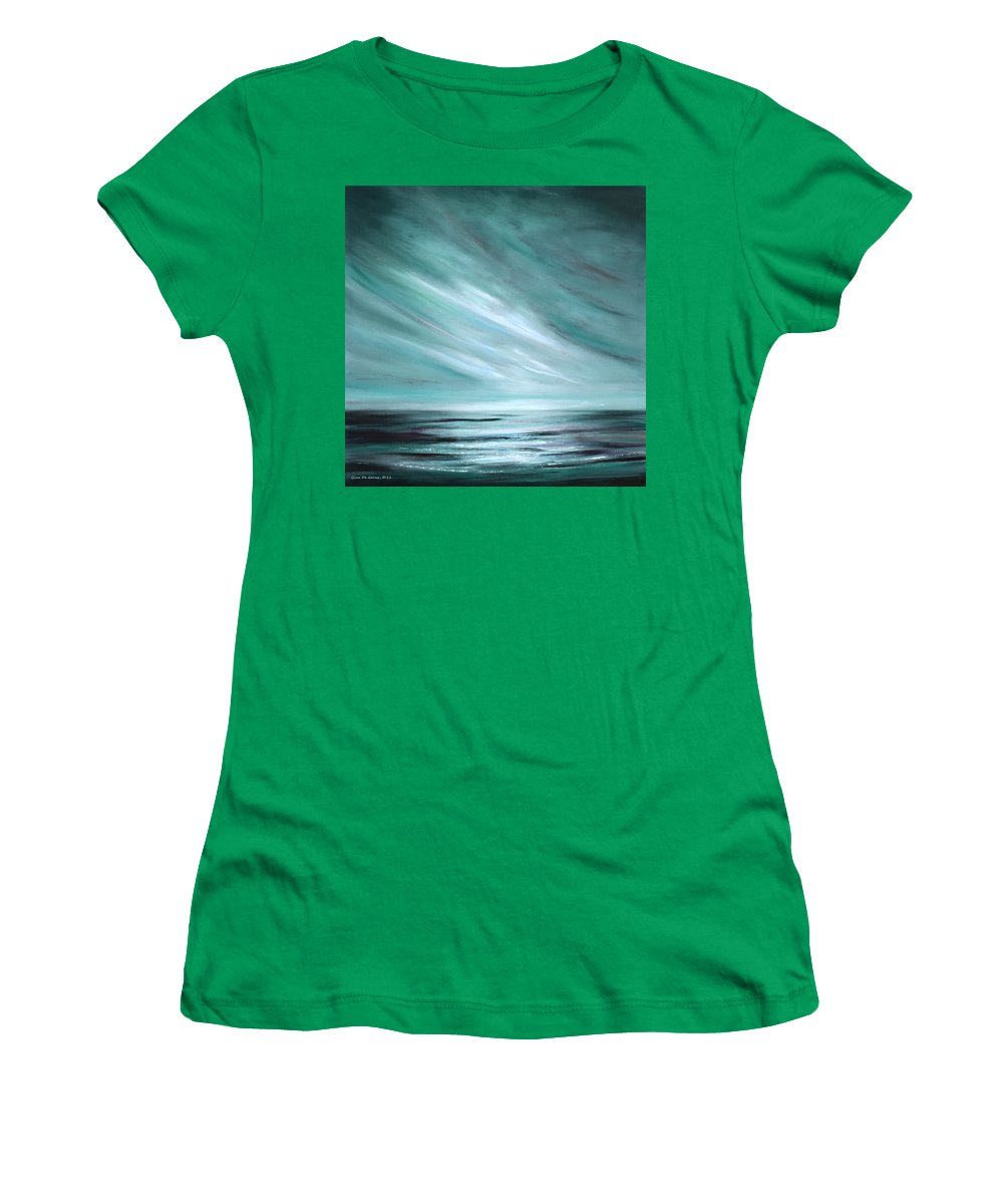 Sunset Women's T-Shirt (Athletic Fit) featuring the painting Tranquility Sunset by Gina De Gorna