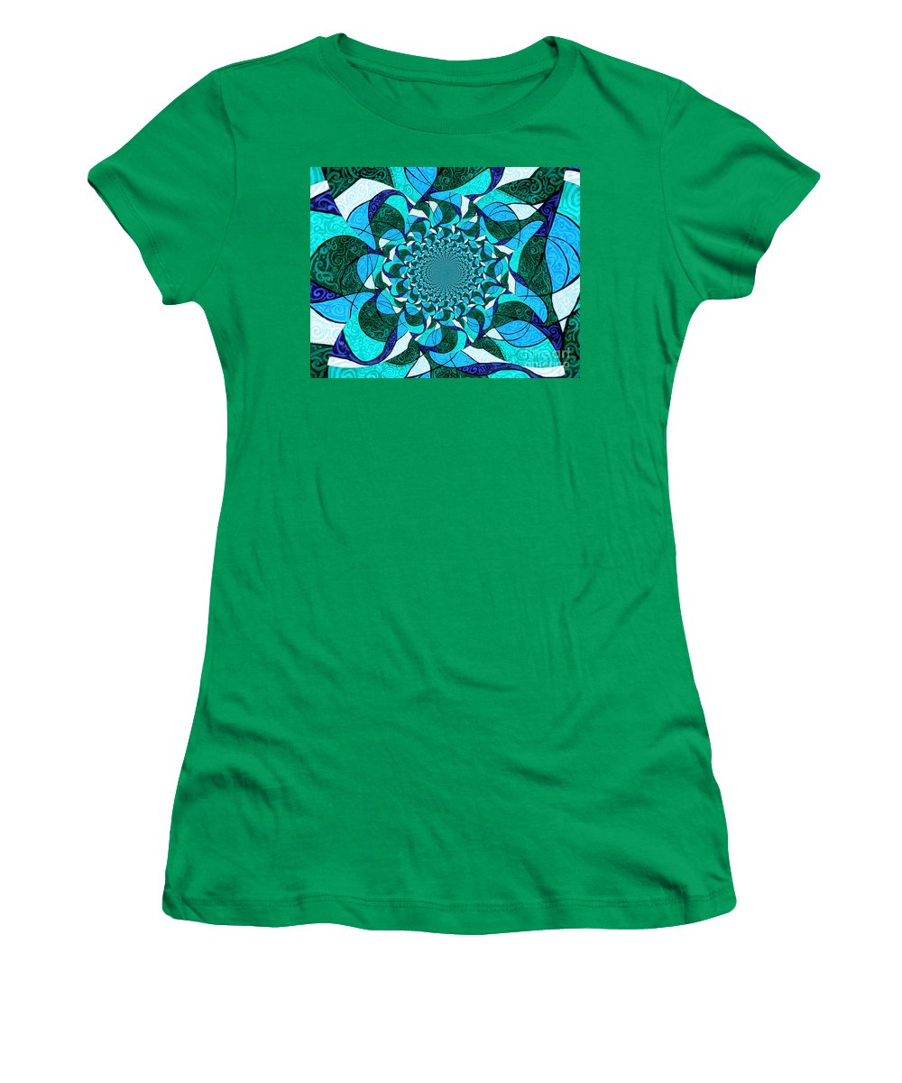 Abstract Women's T-Shirt (Athletic Fit) featuring the painting Water Mandela by Genevieve Esson