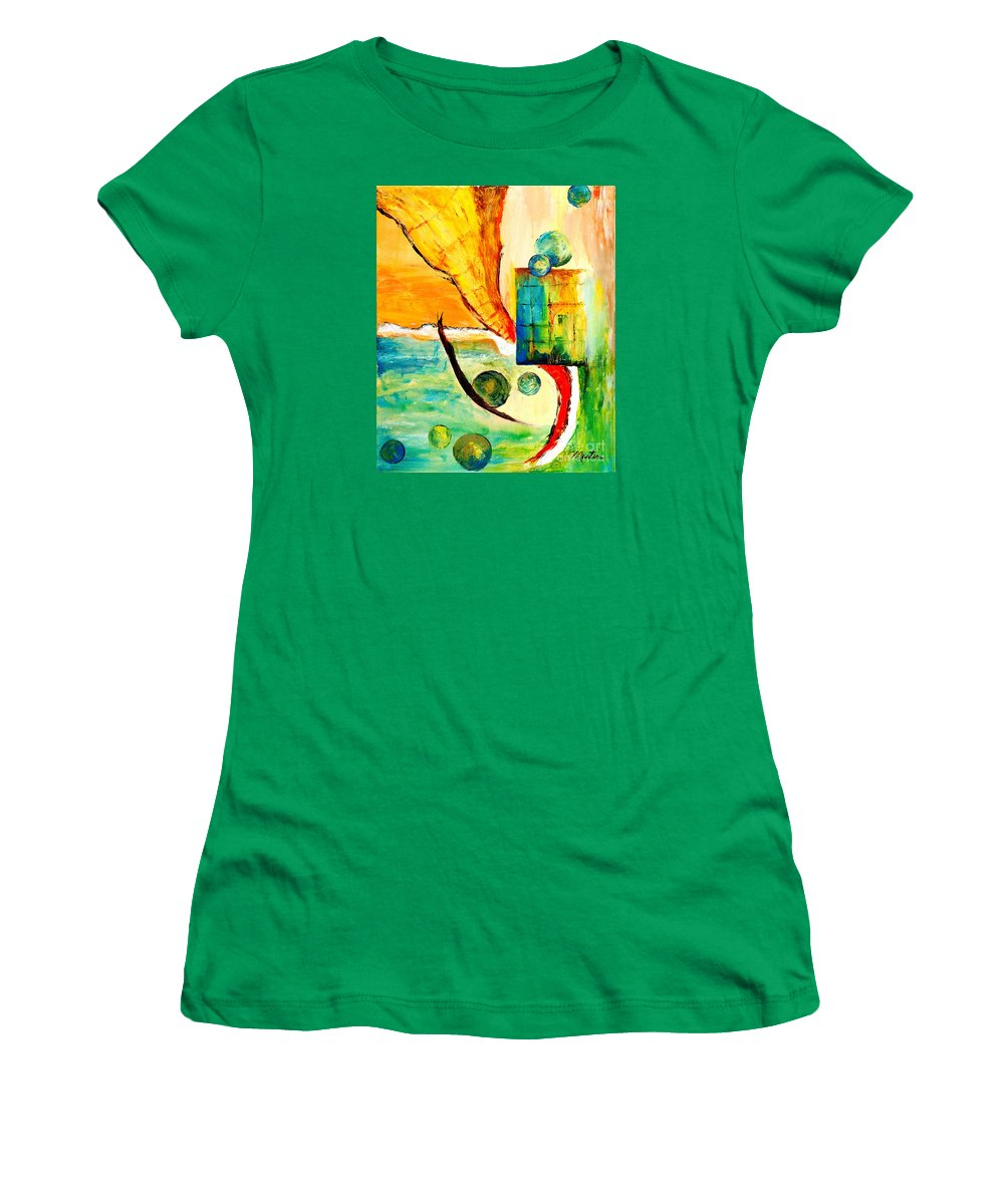 Abstract Women's T-Shirt featuring the painting Whirlwind II by Larry Martin