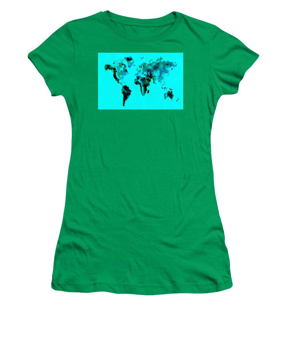 Splats Women's T-Shirt featuring the digital art World Map 15 by Brian Reaves