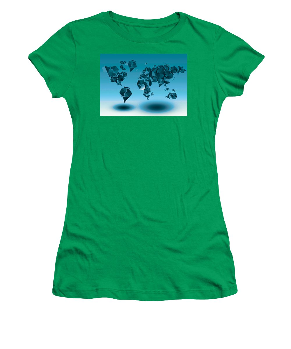 Map Of The World Women's T-Shirt (Athletic Fit) featuring the painting World Map In Geometic Blue by Bekim Art