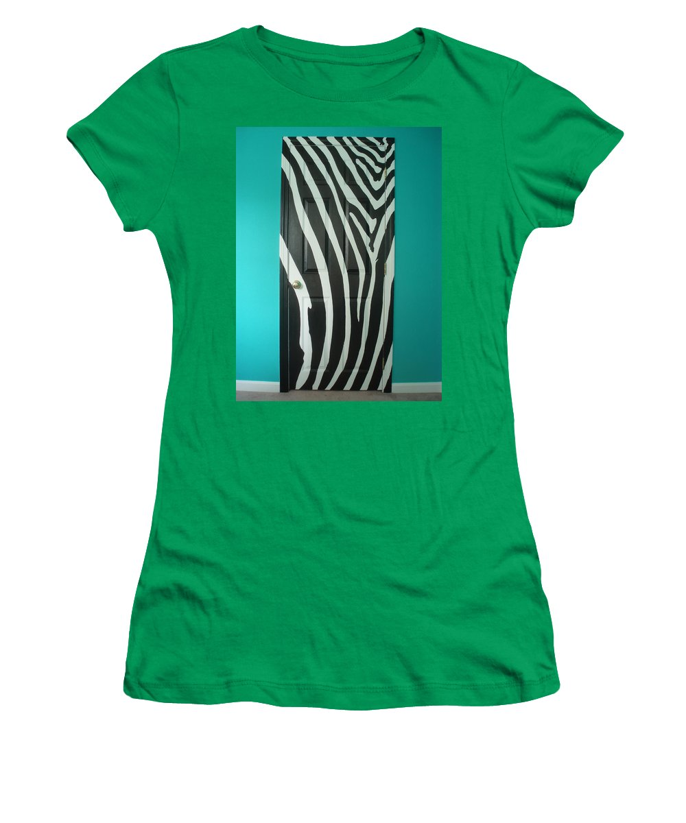 Design Women's T-Shirt featuring the painting Zebra Stripe Mural - Door Number 1 by Sean Connolly
