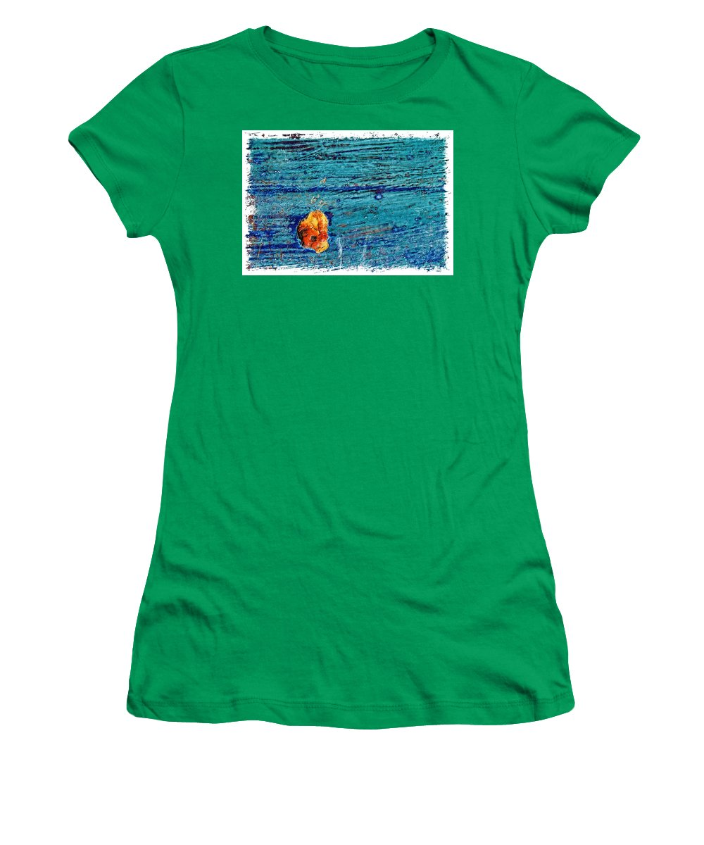 Cracked Women's T-Shirt featuring the photograph Blue Rusted Steel Painted Background by Rudy Umans