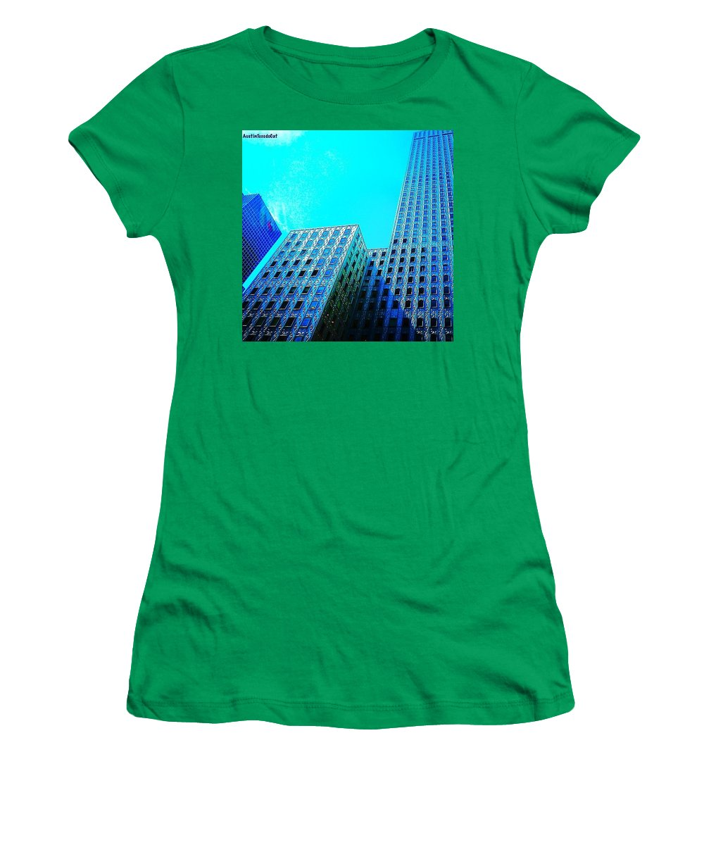 Urban Women's T-Shirt featuring the photograph #blue #buildings And #bluesky On A by Austin Tuxedo Cat