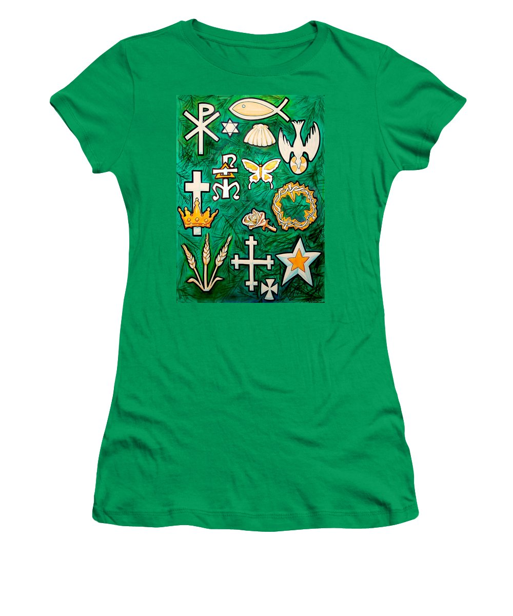 Chrismons Women's T-Shirt featuring the painting Chrismons by Kevin Middleton